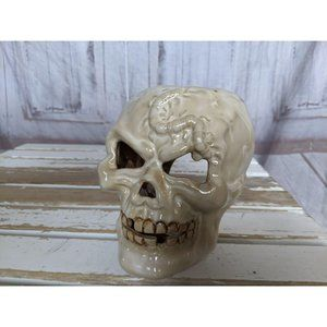 Vtg Halloween Skeleton Skull Head Ceramic Tea Ligh